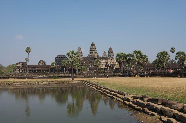 はてさて、念願のアンコールワット観光に行ってきました。<br />実は、社員旅行でタイ旅行があって、その自由時間内にカンボジアのアンコールワット観光をオプションで設定できないかと働きかけたところ、少し高かったけどオプションでアンコール一泊観光が実現しました。参加者8名。<br /><br />さて、出発はバンコク、スワンナブーム空港。航空会社はバンコクエアウェイ。ちなみに、日本からアンコール方面の直行便は無いそうです。中国・韓国は直行便があるそうな。<br /><br />さて、小型のジェット機で飛び立つと、すぐに機内食がでて、食べ終って片付けるともはや着陸準備。<br />無事にアンコールもよりのシェムリアップ空港に着陸。フライト時間1時間くらい。<br />小さな地方空港です。外国人らしき人たちが並んでいるバスポートコントロールに同じように並んでいると、実は違う窓口だそうな。どうも、その場でビザ発行する人たちの列のようでした。<br />別の窓口に並んで無事通過、入国。<br />空港建物の外で、現地ガイドの人が待っていてくれました。<br />荷物は別の車に積んで、バスで出発。<br /><br />もうお昼時なので、予定しているレストランに行きます。<br />ローカルな小ぶりの食堂。冷房は余り効いていないらしく少し蒸し暑いが、タイのように冷房がんがんで寒いよりはずっとまし。ローカル料理を満喫して、ついでにローカルビールを味わって、お昼は終了。<br />ここからアンコール観光に向かいます。時間は2時半くらい。アンコールワット観光は3時スタートくらいになりそう。<br /><br />車で15分くらいでアンコールワットに到着。ガイドさんの案内で敷地内に入ります。目に付いたのは、観光客が多いこと。さすが有名な世界遺産。ただ、この日は中国からの直行便がない日らしく、中国人は少しいるものの団体客がいない。<br />最近はどこへ行っても中国人だらけ。声はでかいしマナーは悪いしでまったく興ざめになるところ、中国団体さんがいなくてとてもラッキー。<br />観光客の人種としては、この日は日本人が一番多いような。日本語ガイドの声があちこちから聞こえてきます。日本人だらけ。次に多いので欧米系でした。幸いなことに中国・韓国はほとんどいない。<br /><br />さて、この時期、カンボジアは昼間は35度くらい。かなり暑い。そこでみんなで帽子を買う。屋台で、ビニールで編んだ帽子を5ドルで買いました。<br />あ、それから暑い中歩き回るので水分は必須です。私はケースつきの水筒を持参して、現地でペットボトルの水を調達して、冷えているうちに真空断熱水筒に移して、長時間冷たい水を飲むことができました。はだかのペットボトルだとすぐにぬるくなってしまいます。<br /><br />さて、アンコールワット。入り口からみると3つの塔がある建物が正面に。アンコールワット定番の風景です。<br />広い景色を写そうと思うと必ず人の列が映りこみます。しかたがない。<br />第一回廊、第二回廊、第三回廊を順に観て回ると、もう夕方。<br /><br />つぎは夕焼けを観に行きます。近くの寺院(遺跡)の上から、かなたに沈む夕日見物。<br />遺跡の建物に上がってゆくともういろんな人が場所取りで居座っています。私もなんとか見渡せる場所を確保して、日没に備えます。30分くらいで太陽が水平線に。みんな写真を撮っている。私ももちろん。<br />夕日を見終わって、ガイドさんが指定した集合場所に行き、そこから今度は夕食へ。<br /><br />かなり大きな観光客用のレストラン。数百席はあるだろうか。もちろんバイキング形式。<br />料理は、ローカル(カンボジア)料理、中華など。人気料理は込み合っています。<br />しばらくすると、ステージでローカルダンス始まる。あの、手首の曲げ方と指の立て方に特徴があるカンボジアの民族舞踊。<br />見る前は余り期待していなかったけど、始まってみるとなんともクオリティーが高い。見ごたえ十分。早めに切り上げて帰るつもりでいたが、引き込まれてしまって最後までみていました。実に堪能させていただきました。アンコールに行く人にはぜひお薦めです。写真も自由に撮らせてくれます。ダンサーも若くて美人が多い。<br /><br />食事を終えてホテルへ。アンコールセンチュリーホテル。やや格が高いかもしれません。清潔で高級感あるホテルでした。<br />どういうわけかこの日は省エネの日らしく、照明が消してあってローソクがつけてある。部屋は照明がつくといわれて部屋に入ると、案の定照明がつかない。フロントに日本語で電話すると、ローカルスタッフからす