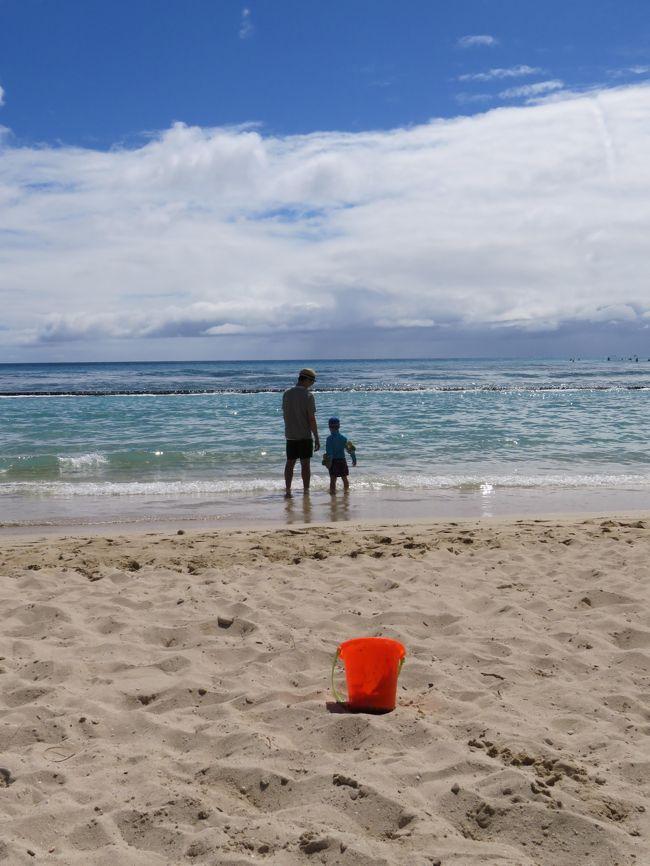 妊娠中から毎月コツコツ貯めていた旅行積立。ようやくお金も貯まり、お腹の中にいた赤ちゃんも大きく成長。<br />わんぱくな5歳児となり念願のハワイ旅行に行ってきました。<br />私達夫婦は7年振り7度目、5歳児息子くんは初めてのハワイ。<br /><br />あ~ハワイ、やっぱり何度訪れてもいいですね♪<br /><br />★前編(出発~3日目まで)