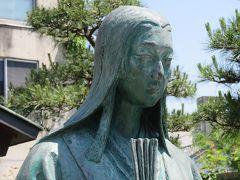 2016春、福井県のお城巡り(8/15):5月18日(8):福井城(2):お市の方像、三姉妹像、柴田神社、北庄城遺構、辞世の歌碑