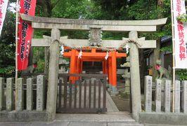 2016梅雨、奈良の世界遺産巡り(9/9):6月5日(9):孫太郎稲荷神社:扁額、鳥居、拝殿、白い狐像、保存樹