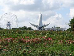 万博記念公園(1) 日本庭園前のバラ園風景。