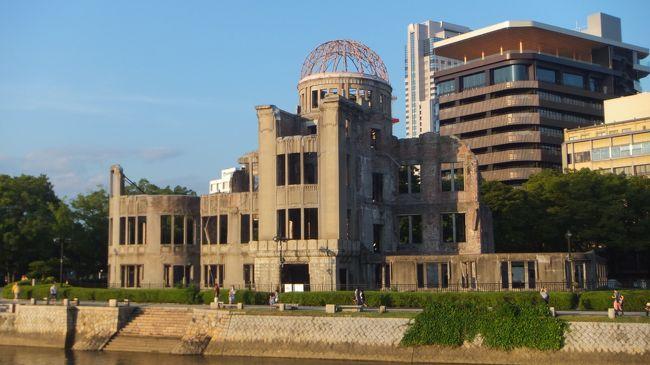 広島城と原爆ドーム