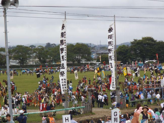 7月23・24日と一泊二日で福島県相馬市・南相馬市で開催される『相馬・<br />野馬追祭』を見学してきました。当祭りは700年以上の歴史(伝承では<br />平将門が軍事調練の一環として初めて1000年以上の歴史)がある、と<br />言われています。23日の出陣・宵乗り競馬、24日の甲冑競馬・神旗争奪戦、<br />25日の野馬懸と三日間続くお祭りですが、ツアーで二日目の武者行列(「お行列」<br />と呼ばれ3妙見神社から会場の「雲雀ケ原祭場地」への3kmの行軍)の途中と、<br />甲冑競馬および神旗争奪戦を見学しました。出場者は武者行列をしている時から完全に<br />『サムライ』になりきっていて(実際は多分、もっと早く「出陣式」あたりからかもしれません)、会場入り口の手前の桟敷席や、ゲイトで騎馬武者同士が声を掛け合ったり、会場の係りに向かって着到を告げたりするさまは圧巻でした。また、先祖伝来の甲冑に身を固め、<br />旗指物を風になびかせて疾走する甲冑競馬と花火で打ち上げられる2種類の神旗を<br />奪い合う神旗争奪戦の戦国絵巻そのものの迫力に大興奮しました (*^。^*)<br />また、この会場に向かう途中、常磐自動車道をツアーバスで走行中双葉町、浪江町<br />を通過し「帰宅困難地域」の惨状を目の当たりにし、胸が痛みました。