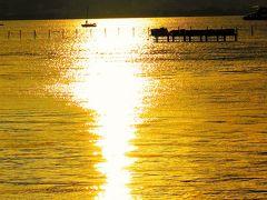 諏訪湖畔b 花火大会の前に/夕陽映す水面 ☆雨あがり/観客は50万人にも