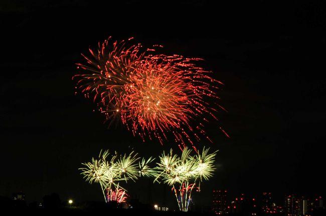 守口市が2016年に市制施行70周年を迎えることを記念し、「守口市花火大会」が開催されました。最大2.5号玉を含む5000発の花火が夜空を彩りました。