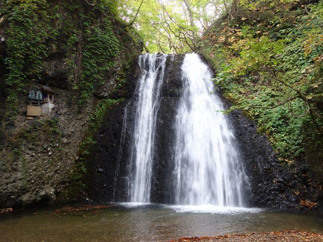 あきた白神温泉で一泊したあと,秋田市にむかいます。この日の最初の観光は,白瀑神社(しらたきじんじゃ)。宿の人に教えてもらいました。ここは神社と滝が一体になっています。