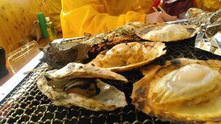 牡蠣が苦手ですが、 牡蠣小屋で糸島の海幸を炙り焼き