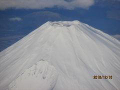薩摩・大隅500キロの旅(2)機上から見る白銀の富士。