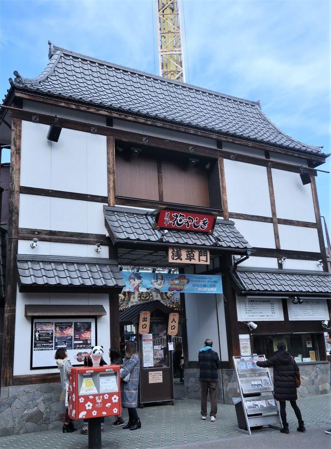 浅草花やしきは、東京都台東区浅草二丁目28番1号にある遊園地。<br />1853年(嘉永6年)開園で、日本最古の遊園地とされる。敷地面積5800m2。国産初、日本で現存最古のローラーコースターがある。現在はナムコの子会社である株式会社花やしきが運営している。<br /><br />1853年(嘉永6年)に千駄木の植木商、森田六三郎により牡丹と菊細工を主とした植物園「花屋敷」が開園した。当時の敷地面積は約8万m2だった。江戸期は茶人、俳人らの集会の場や大奥の女中らの憩いの場として利用され、ブランコが唯一の遊具だった。<br />大正から昭和初期には全国有数の動物園としても知られ、トラの五つ子誕生や日本初のライオンの赤ちゃん誕生などのニュースを生んだ。<br />1947年(昭和22年)春に遊園地「浅草花屋敷」として再開園。2年後には東洋娯楽機に経営自体が委ねられ「浅草花やしき」と改名。そして1953年(昭和28年)のローラーコースターなど現在もあるアトラクションが登場し始めた。<br />(フリー百科事典『ウィキペディア(Wikipedia)』より引用)<br /><br />浅草花やしき については・・<br />http://www.hanayashiki.net/<br /><br />浅草(あさくさ)は、東京都台東区の町名。東京都台東区のおよそ東半分を範囲とし、江戸・東京の下町を構成している地域のひとつである。浅草は下谷・本所・深川と並ぶ、東京下町の外郭をなす。概ね東京旧市内で高台に比べ低地を多く占める旧区分を下町としている。そのため旧浅草区に属する浅草地域は下町にあたる。<br />現在も下町情緒を感じさせる観光の街として賑わっている。<br />(フリー百科事典『ウィキペディア(Wikipedia)』より引用)<br />