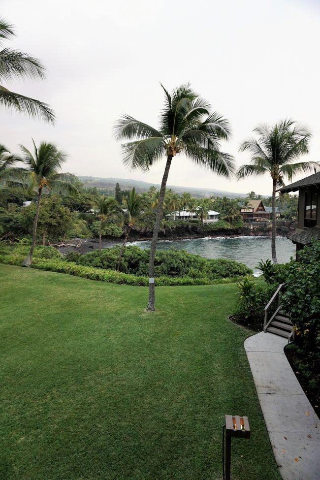 激動の2016年<br />我が家は年末にハワイ島へ。<br /><br />選んだ宿はケアウホウ地区にある「カナロア・アット・コナ・バイ・キャッスルリゾーツ」<br />2月頃、ブッキングコムにて1ベッドルーム パーシャルオーシャンビューのお部屋を予約しました。<br />初めて海外旅行ホテルサイトを利用。<br /><br />ゲートを入って「キャッスルリゾート」のカウンターでチェックイン。<br />カウンターのオープン時間は8:00~17:00までという短さ。<br />しかし心配ご無用。時間外は入口のゲートボックスに係の人が常駐しています。<br />(居ないこともあるんですけどね・・)<br /><br />注意すべきはこのコンドミニアム、「アウトリガー」で予約した時と「キャッスルリゾート」で予約した時のチェックインカウンターが違うという事。<br /><br />私たちにとっては居心地の良い部屋でしたが<br />上階の足音が結構響きます。<br />気になる人はダメかも。<br />あと、エアコンが別料金な上に、エアコンなしの部屋もあります。<br />暑がりの人は無理かも。<br /><br />古い施設ではあるけれど<br />なんともホッとするコンドミニアムでした。<br />