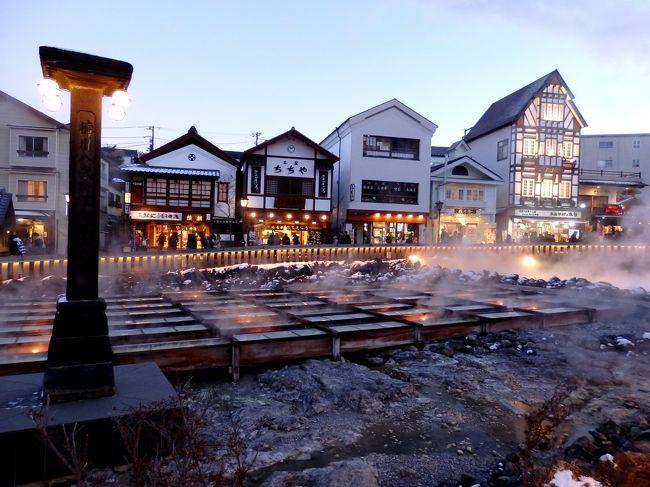 年末恒例の家族旅行は草津温泉へ行ってきました。<br />1日目は湯畑周辺を散策し、2日目は草津国際スキー場でスキー。<br />しかし、スキー場はロープウェーがストップするほどの強風。<br />残念ながら、あまり楽しめないままに終わってしまいました。<br />代わりといってはなんですが、私と娘は12/16にオープンしたラスク店「グランデフューメ草津」へ。花より団子ならぬ、、スキーよりスイーツ?!<br />500円のジェラート食べ放題やラスクの買い物を楽しみました^^<br />その間、夫は前日、買ったばかりで失くしてしまったお箸の捜索に…!<br /><br />帰りは17時半の新宿行の高速バス「上州ゆめぐり号」を利用。<br />バスタ新宿に到着後は、新宿駅新南口とサザンテラスのイルミネーションをしばし楽しんでから帰りました。<br /><br />よろしければご覧ください~。