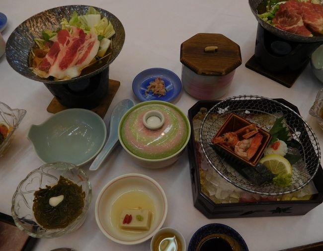 会合があり湯田温泉にある「西の雅 常盤」で温泉に入り、ランチを食べました。<br />宴会の途中で女将と若女将が踊ったり手品などをされました。