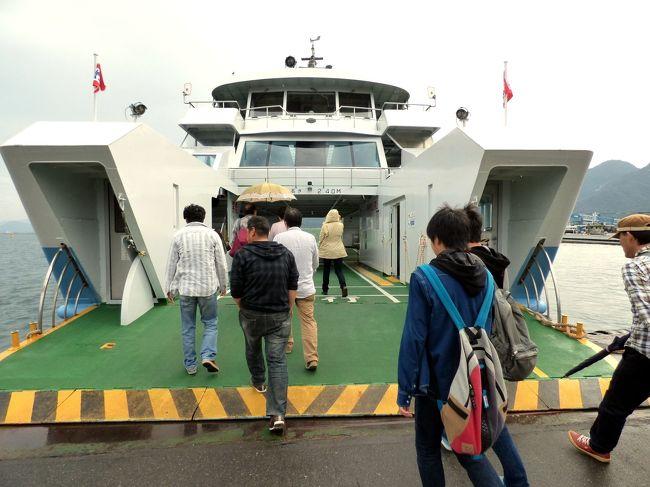 本州から宮島までは2本のフェリーがとても頻繁に結んでいます。<br /><br />前回はJRのフェリーにしたので、今回はもう一つの広電グループ 宮島松大汽船のフェリーに乗ります。<br />