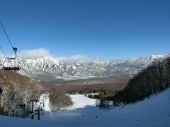戸隠スキー場でスキー 宿泊は長野市内へ。 その2  青空のもと、スキーを満喫
