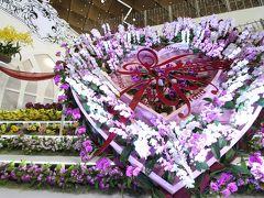 2017年度の世界らん展は大急ぎ(1)巨大なランの柱とバレンタインのハートのオーキッドゲートから大使夫人のテーブルディスプレイや沖縄美ら海水族館ほか特別展示