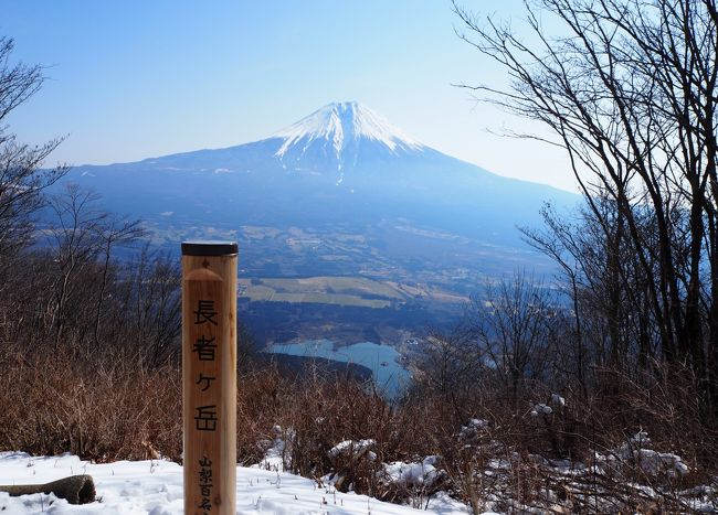 やっと仕事の繁忙期が終わったので、気になっていた富士山が見える山旅に出かけてきました。<br />大沢崩れを一度見たかったので、当然長者ヶ岳に決定!<br />車がノーマルタイヤ、、、目的地の田貫湖Pは河口湖ICから約34キロかかるので、雪道だったらと心配でした。<br /><br />やっぱり途中で凍結してバリバリの車道に遭遇してビビリましたが、一時だけでしたので大丈夫でした。<br />この時に見た一体の樹氷が素晴らしかったです。<br />雪の降らない関東平野に住んでいるので車を停めて写真をパチリしておけば良かったなぁと。<br /><br />写真は長者ヶ岳山頂から見た富士山と田貫湖です。<br />