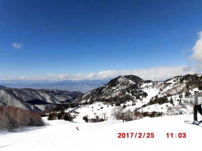 信州高山村 yamaboku ワイルドスノーパーク(山田牧場)に久しぶりにスキーに出かけて来ました。快晴に恵まれ北信五岳が見渡せ絶景を味わう事が出来ました。<br />宿は紅葉で有名な松川渓谷「平野屋」にお世話になりました。