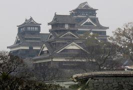 2017春、九州西北部の城巡り(28/35):3月31日(3):熊本城(3/4):大天守、小天守、壊れた石垣、加藤神社、狛犬
