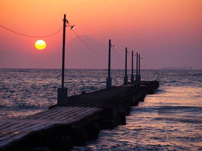 千葉の原岡海岸で夕日を見て来ました。