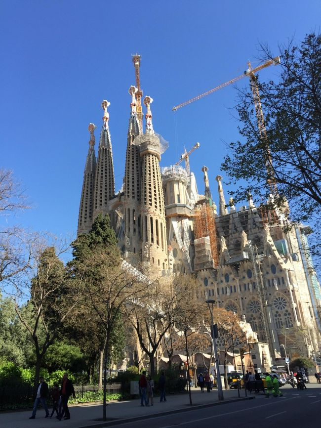 娘と二人、パリ~バレンシア~バルセロナと旅行しました。<br />日本からの飛行機はANAのマイレージ無料特典航空券で、途中は自分でLCCや鉄道をネット予約して移動しました。<br />主な旅の目的は、パリ観光~モンサンミシェル~バレンシア火祭り~サグラダファミリアです。<br />3月12日~17日 パリ5泊<br />3月17日~19日 バレンシア2泊<br />3月19日~23日 バルセロナ4泊