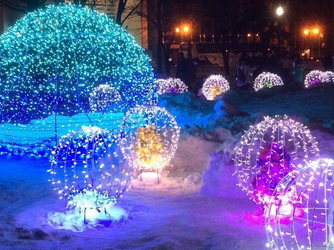 例年より早く大雪に見舞われた札幌に行くことに。<br /><br />歩き慣れない夜の雪道を避けて、<br />バスツアーで夜景を楽しんできました。