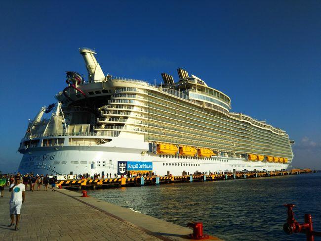 いよいよホテルを出て、マイアミのフオートローダーデールへ!<br />そこに待っていたのは世界最大の(22,7万トン)の大型客船「ハーモニー・オブ・ザ・シーズ」です。<br />近ずくにつれてその大きさに圧倒されます・・・・・・大きなビルが何棟か連なっているようで!<br /><br />今日からの一泊二日は船の中なので、船の中をご案内します。<br />最初に避難訓練がありました。<br /><br />船に乗り込むと早速利用説明があり、避難訓練がありました。<br /><br />部屋は我らは海側バルコニー付きの部屋でシャワーのみ(バスタブなし)でしたが、十分でした!<br />殆ど部屋には居なかったので海側でなくてもよいかも?<br /><br />バルコニーへも殆んど出なかったし・・・・・・<br /><br />メンバーの中には一組ジュニアスイートを利用した人もいました・・・・・・<br />バスタブ付きです! (お風呂に入りたくなったら何時でもどうぞ!)と言ってくれましたが・・・・・<br /><br />デッキは18階まであり、17、18階はスイート専用、専用メインダイニングとラウンジが配置されています。<br /><br />「船の概要」<br /><br />2016年5月就航<br />227000トン<br />乗客定員 5479名<br />乗組員数 2384名<br />全長    361メートル(東京タワーより長い!)<br />全幅    66メートル<br />全高    65メートル<br />巡航速度  22ノット<br /><br /><br />