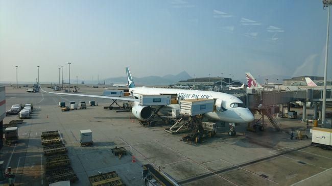キャセイパシフィック航空を頻繁に利用しています。<br />昨年導入されたA350-900はビジネスクラス、プレミアムエコノミー、エコノミーと3クラスともに搭乗したので、記録を残しておきます。<br /><br />まずは、とある日のビジネスクラス搭乗記録。<br />