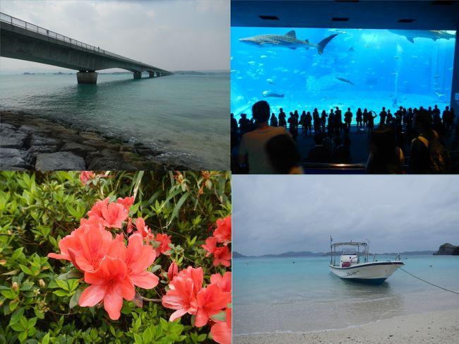 冒頭の写真は、古宇利大橋、美ら海水族館、渡嘉敷島のケラマツツジ、阿波連ビーチです。<br /><br />花粉症対策とJALマイレージを活用して沖縄へ行き、沖縄本島周辺の島々を巡りました。<br /><br />沖縄本島に3泊した後、慶良間諸島の渡嘉敷島へ移動し、1泊してから帰ってきました。<br /><br />沖縄本島に着いた日は、ゆいレールの一日券(700円)で牧志公設市場やおもろまちなどを観光しました。<br />琉球ダイニング松尾 (御菓子御殿 国際通り松尾店)で沖縄料理の夕食、沖縄三線生ライブ付き<br />二日目は、バスターミナルから那覇交通の観光バスで美ら海水族館での滞在をメインに、古宇利大橋、今帰仁城跡、ナゴパイナップルパークなどを見学しました。<br />三日目はレンタカーを借りて、東海岸の海中道路などを巡りました。<br />四日目は高速艇で渡嘉敷島へ行き、ホテルの軽レンタカーで島巡りをしました。<br />五日目は予定の高速艇が高波のため欠航となり、夕方のフェリーで那覇に戻り、飛行機も遅い便に変更してもらいましたが、羽田も強風が吹いていたので、到着が深夜の12時頃になってしまいました。<br /><br />島巡りは、沖縄本島、奥武島、屋我地島、古宇利島、藪地島、平安座島、浜引嘉島、宮城島、伊計島、渡嘉敷島 の10島です。<br />沖縄本島:東シナ海に浮かぶ島のひとつ<br />奥武島: 沖縄本島北部にある島で名護市に属する。本島と屋我地島の間にありいずれも橋で結ばれているが無人島。<br />屋我地島: 沖縄本島北部にある島で名護市に属する。本島と奥武島と橋で結ばれている<br />古宇利島:沖縄県国頭郡今帰仁村に属する島で、沖縄本島北部にある屋我地島の北に位置する<br />藪地島:沖縄県うるま市に属する無人島<br />平安座島:沖縄県うるま市に属する与勝諸島を構成する島<br />浜引嘉島:沖縄県うるま市に属する宮城島と橋で繋がっている島<br />宮城島:沖縄県うるま市に属する与勝諸島を構成する島<br />伊計島:沖縄県うるま市に属する与勝諸島を構成する島<br />渡嘉敷島:那覇の西方約30kmに位置し、慶良間諸島の東端にある。<br /><br />与勝諸島:沖縄本島中部東海岸から太平洋に突き出した半島の先にある島々<br />北より伊計島(いけいじま)、宮城島(みやぎじま)(別称高離(たかはなり))、平安座島(へんざじま)、浜比嘉島(はまひがじま)、藪地島(やぶちじま)、浮原島(うきばるじま)、南浮原島、津堅島(つけんじま)の8島からなる諸島。<br /><br />