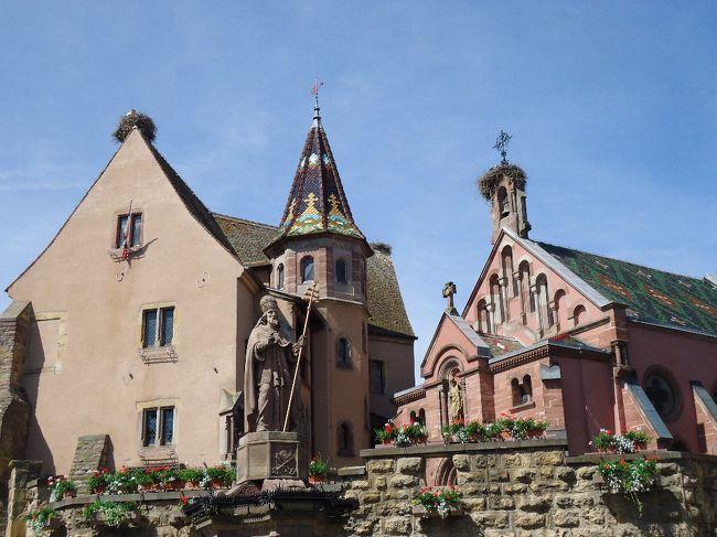 8日間で巡る4か国(スイス、ドイツ、フランス、ルクセンブルク)の街歩き3日目ストラスブールを出発し、リクヴィ―ルを経てエギスハイムを訪れた。<br /><br />エギスハイムは、2013年5月 フランスで最も美しい村30選に認定されている。 又、アルザスワインの産地でもある。<br /><br />10:45 エギスハイム到着 約1時間街並みを自由散策<br />11:45 次の訪問地 コルマールへ出発。<br /><br />全行程;<br /><br />初日、成田空港発 - チューリッヒ空港 - チューリッヒ泊(スイス) - 2日目、シャフハウゼン(ラインの滝)- マイナウ島(ドイツ)- ライヒナウ島(ドイツ)- ストラスブール泊(フランス)- 3日目、リクヴィル - エギスハイム - コルマール - ストラスブール泊 - 4日目、ゲンゲンバッハ(ドイツ)- ザスバッハバルデン - ヒルシュベルク - ハイデルベルク - ルードヴィッフィスハーフェン泊(ドイツ)- 5日目、コブレンツ - ベルンカステル・クース - トリ―ア(ドイツ) - ルクセンブルク泊 - 6日目、ルクセンブルク泊 - 7日目、ルクセンブルク空港 - チューリッヒ空港 - 8日目、成田空港着<br /><br /><br /><br />