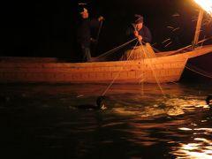 2017春、長良川鵜飼と定例懇親会(3/7):5月23日(3):長良川鵜飼、最初は鵜舟1艘ずつの川下り漁