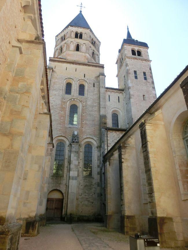 6/10(土)、17日目。<br />今日から2泊3日のブルゴーニュの旅です。1日目はブルゴーニュの奥深くクリュニーの修道院を訪ね、マコンに1泊します。<br />クリュニー修道院は11世紀に起こった修道院改革運動の中心でした。<br />910年頃アキテーヌ公ギヨームによりベネディクト会の修道院として設立され、ローマ教皇の直轄、王侯の庇護の元隆盛を見ます。<br /><br />10世紀末ころからキリスト教界全体が世俗化し、聖職売買、聖職者の腐敗、世俗権力の介入が進みます。クリュニー修道院は世俗権力からの独立、ローマ教皇に直結する修道院組織の確立、厳格な戒律遵守を掲げ修道院改革運動をすすめその中心となりました。<br />その動きは高位聖職者叙任権闘争へと繋がっていきます。司教、大修道院長の叙任権がローマ教皇にありや、或いは王侯領主にありやという争いです。<br />1077年の神聖ローマ皇帝ハインリヒ4世のカノッサの屈辱などの出来事がありましたがこれは別の話になります。<br />12世紀中頃までがクリュニー修道院の最盛期で、管轄下に置く修道院の数は1500ともいわれていました。しかし巨大化、権威化、修道士の生活の華美化などが他の修道院派、特にシトー派修道院から非難を浴び、クリュニー修道院は徐々に衰退に向かいました。<br /><br />12世紀ロマネスク建築の最高峰といわれた建物は16世紀のユグノー戦争で荒廃し、フランス革命で大部分が破壊されてしまいました。石材はほかの建物の資材として持ち出されてしまい今残っている部分は往時の10分の1ほどだそうです。<br />中世ヨーロッパに絶大な権勢を誇ったベネディクト派の大修道院、今その廃墟を見て、つわものどもが夢の跡、の感に堪えませんでした。<br />なおパリの中世美術館はクリュニー修道院長のパリ別邸として建てられたものです。<br /><br />写真はクリュニー修道院の遺構。左聖水の鐘楼と右時の塔。
