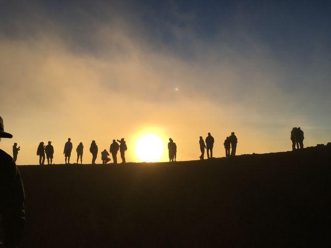 ハワイ初上陸にしてマウイ島、出発前から今回の旅行のいちばんのハイライトと位置付けていた、標高3000m越えのハレアカラ山頂へ。<br /><br />今回はサンセットと星空を見るため午後出発。(サンライズを見るには申込み要らしいです)<br /><br />滞在しているカフルイからハレアカラはアクセスしやすいです。<br /><br />前日行ったハワイ島のマウナケアも素晴らしいそうですが、基本ツアー参加になるのに対し、マウイのハレアカラは自力で行くことができます。<br />(OPツアーもありますが、$200くらいします)<br /><br />家族に運転大丈夫か一応尋ねたら、全然OKということでわたくしは乗っているだけで1万フィートまで行くことが実現。<br /><br />この標高なので、防寒用に上着は必須です。ハワイとはいえ侮ってはいけません。さんざん言っておいたのに半袖・ハーフパンツの出で立ちの父、説得してようやく上着を一枚持ってくれました。長いボトムにしなかったため山頂で悲劇に見舞われることに。<br /><br />寒がりのわたくしはホッカイロ&amp;薄い手袋でも足りませんでした。<br /><br />行かれる方はぜひ寒さ対策されることをオススメします。<br /><br /><br />