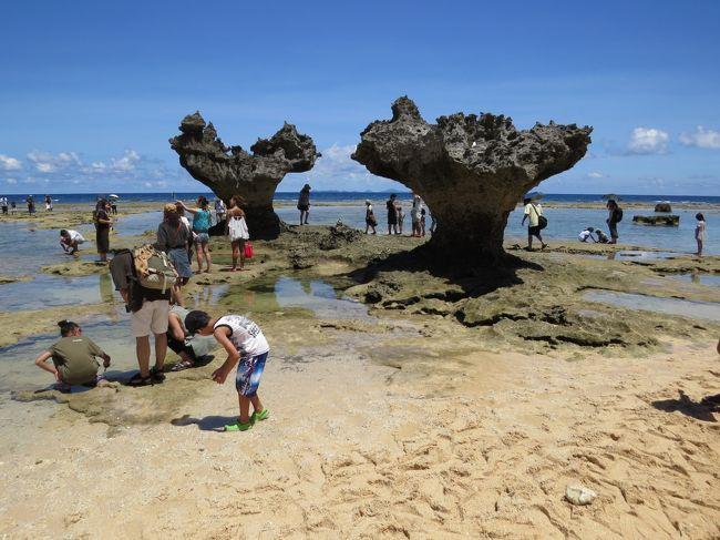 ティーヌ浜<br /><br />  古宇利島の北部にある砂浜で、2つの岩が重なってハート形に見える<br />  「ハート岩」は、島のシンボルでいちばんの人気スポットです。この<br />  「ハート岩」は、嵐が出演するJAL「先得」のCMで話題になりまし<br />  た。干潮時には遠浅の岩場が広がり、潮だまりでは磯遊びが楽しめま<br />  す。<br /><br /><br />古宇利オーシャンタワー<br /><br />  駐車場(券売所)から自動カートで、南国の植物や石組の滝、古宇利島<br />  の絶景を楽しみながら、展望タワーに向かいます。展望タワーでは、沖<br />  縄の「アダムとイブ伝説」にあやかって「愛の鐘」を鳴らし、古宇利大<br />  橋やエメラルドグリーンの海を満喫します。シェルミュージアムも必見<br />  です。<br /><br /><br />古宇利ビーチ<br /><br />  ファミリーで遊泳を楽しめるビーチで、遊泳可能エリア(クラゲ除け<br />  ネット内)は遠浅の砂浜で、アマモが繁殖している所のイソギンチャク<br />  の周りにクマノミがいました。<br /><br />  ふれあい広場に無料駐車場があります。シャワー、更衣室、トイレは無<br />  料、パラソルやチエアーは有料です。売店で遊泳用具が買えます。<br /><br />  ふれあい広場にある売店が充実しています。海ぶどうやアオサ、もず<br />  く、ドラゴンフルーツ、スターフルーツ、パッションフルーツ、カテモ<br />  ヤ、パイン、野菜用のパパイヤ、サトウキビなどが並んでいます。お食<br />  事処もあります。<br /><br /><br />