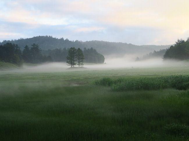 (写真は大江湿原の朝)<br /><br />1年ぶりの尾瀬行です。昨年同様沼山峠から入ります。尾瀬は国立公園として日光と別れ、代わりに田代山、帝釈山が加わりました。残念ながらこちらまで足を伸ばす方はほとんどいませんが、やはり素晴らしい湿原があります。<br /> (田代山/天空の湿原 http://4travel.jp/travelogue/10254815 )<br />今までやれなかったことはこれからやるだけ、今まで行けなかったところへはこれから行くだけ。年100日の旅は続きます。<br /><br />●「旅に出る」時は、芭蕉さんのように家を処分して出かけたいと思っている。旅は旅先を棲家としなければ。<br /><br /> ・夏の風流れ流され尾瀬ケ原<br /><br /> ・ワタスゲや背丈競いて風クール<br /><br /> ・浪が来た亜米利加の夏引き連れて<br /><br />
