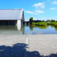 真夏の琵琶湖畔の水面に浮かび上がる美術館