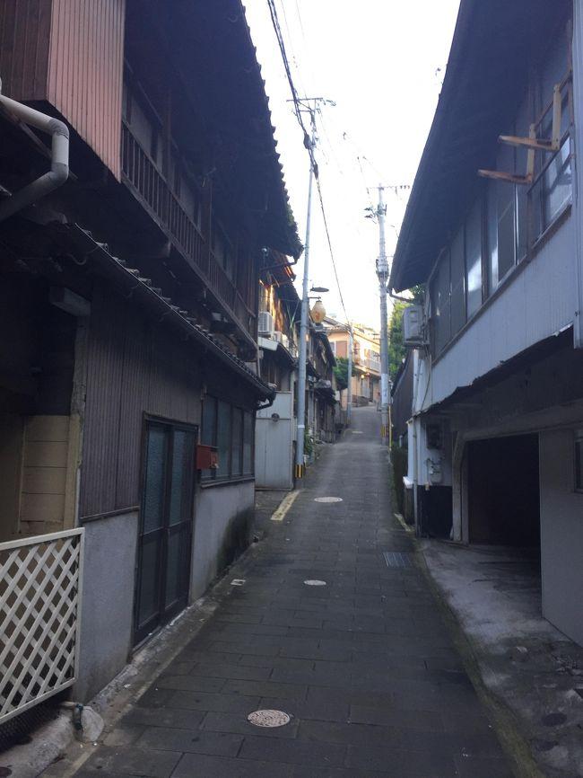急な出張で長崎へ日帰りで行ってきました。<br />これまでも数回東京から日帰りで出張しましたが、当然のことながら業務出張ゆえ空港・オフィス・飲み屋以外を訪れる時間などなく、味気ないものでした。<br />今回は帰りの便が20時(金曜の長崎・東京便は直前ではとれませんので旅行を考えている方はお早めに)たまたま用事が短くすんで16時にはリリースされたので、隙間時間を利用して予てから訪れてみたかった出島と、竜馬も遊んだであろう丸山遊郭付近を散策してきました。<br />出島はテーマパークのようで一時間くらいかけましたが、オランダから来て出島から外にはめったに出てはいけなかったそうで、こんな狭いところにいかに商売といえど何年も押し込められて、楽しみといえば遊女しかなかったのによく耐えられたな、と思いました。ちょうど読んでいた佐伯泰英の時代小説の舞台が長崎でここも登場しとても興味深く見学できました。<br />さて、次は徒歩で丸山遊郭跡へ向かいましたが、地図にたよったばかりに間違えて唐人屋敷跡に着いてしまいましたが、八百屋の親父さんらしき人に行く方法を聞いたら親切におしえてくれました。私の住む横浜にも大きな遊郭街が昔あって、なんとなく興味がわき、いく先々で花街の名残がある建築物を写真で残しておきたいと思い数か所そうしたところに行ってみましたが、丸山遊郭といえば江戸時代の三大花街(東京の吉原、京都の島原、長崎の丸山)と言われた場所ですので、期待が高まりました。<br />最後は眼鏡橋まで歩き、そのまま長崎駅前の県営バスターミナルまで休みなく歩いて約二時間半の街歩きでした。(かかとが痛い)<br /><br /><br />