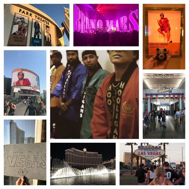 ラスベガスのパークシアターで行われた、ブルーノマーズのコンサートを見にブルーノファンの友とラスベガスへ。<br />あてもなく手土産の手作り法被を持って行ったところ、奇跡のようなことがおこり大興奮!なラスベガスの旅でした。<br /><br />FLIGHT;<br />9月1日 HND-LAX-LAS<br />DEL 06, 4586<br />9月5日 LAS-SEA-NRT<br />DEL 34,167<br /><br />HOTEL; Monte Carlo Resort