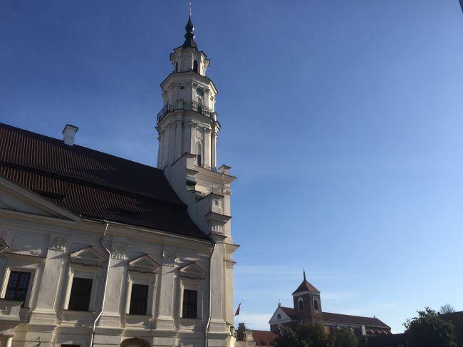 雨降るビリニュスをお昼過ぎに出発して1時間弱、楽しみにしていたトラカイ城に到着。<br />7月にTVで見たトラカイ城は、抜けるような青空をバックに、湖に浮かぶ美しいお城でしたが、印象は天気に左右されるとはこのこと。早々に退散、1時間半ほどでこの日1泊するカウナスへ。<br /><br />大戦中はポーランドに占領されていたビリニュスに代わり首都だったカウナス。第二次世界大戦中、当時日本領事代理だった杉原千畝さんが多くのユダヤ人の命を救ったことは有名ですね。<br /><br />到着したカウナスは、金曜の夕方。いくつかのウエディングパーティーやヨーロッパらしくウインドーショッピングをしながら目抜き通りを散歩する人たちで賑やかでした。翌朝は、街を囲んだ2つの川が合流する地点まで、気持ちのいい散歩道を歩きます。<br />カウナスは、特段見どころはないですが(あはは)、ゆったり落ち着いた雰囲気が私はなんとも好きな街でした。<br /><br />