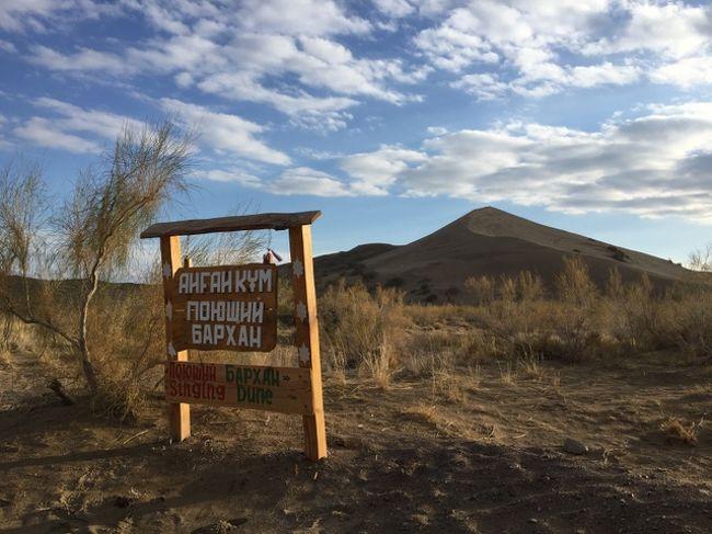 カザフスタンに、鳴砂の大砂丘があると知り、どこにあるのか調べてみると、アルトゥン・エメル国立公園の中だと判明。<br />ここに行くにはアルマティが拠点になるけど、公共交通機関では行けないし、車があったとしても、距離があるので日帰りは無理。<br />最初からここに行くツアー(西遊旅行とか)に参加するか、アルマティ発の現地ツアーに参加するのが確実。<br /><br />現地のツアーは、私が調べた範囲ではプライベートが基本のようで、一人だと10万円近くなってしまうのだけど、何とか混載のグループツアーを発見。<br />時期は4月下旬から10月上旬で、木・金の2日間の行程。<br />プライベートの場合、2日間と3日間のコースがあり、移動距離が長いので3日間がオススメとのことだけど、グループは2日間の設定しかなかった。<br /><br />私が利用したのは、中央アジアのツアーを幅広く扱っている「キャラバニスタン」。<br />http://caravanistan.com/<br />ここは旅行会社ではなく、取次のような感じ。申し込みフォームを送ると、その後は旅行会社と直接のやりとりになる(英語)。<br /><br />参加したグループツアーについては、こちら。<br />http://caravanistan.com/tour/altyn-emel-national-park-2-days/<br />事前にパスポートコピーを送る必要があり、決済はオンラインでできる。<br />サイトには290USDとあるけど、決済は現地通貨で10万テンゲ。<br />後日きたカードの請求では約33,000円だった。<br /><br />本編(?)「カザフスタンの味」はこちら。<br />https://4travel.jp/travelogue/11291688