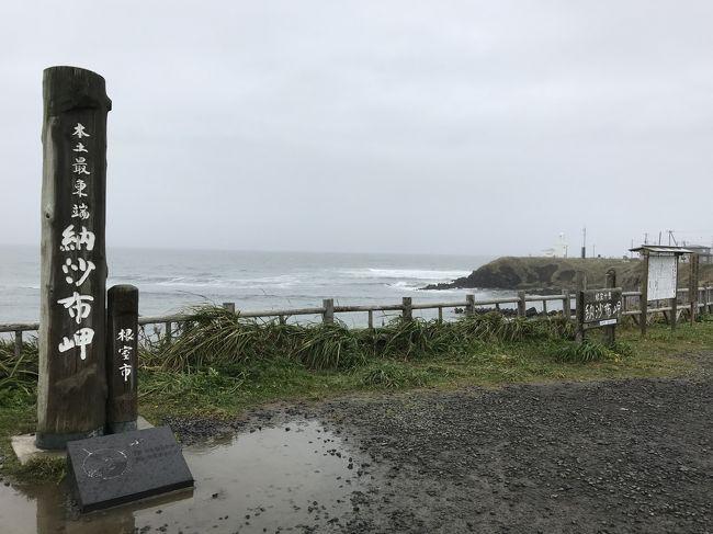 2日目は、根室に宿泊しました。<br />宿泊したのは「お宿エクハシ」、地元の旬の食材をいただける食事が美味しい宿でした。<br />旅行最終日の3日目は、朝からあいにくのお天気でした。<br />雨は徐々に強くなり、終盤は、ほとんど景色を楽しむことはできませんでした。<br />帰りは、浜中町、厚岸町を経て、釧路市に向かい、釧路空港から、15:05発のJAL542便で、台風21号が近づく羽田に戻りました。<br />