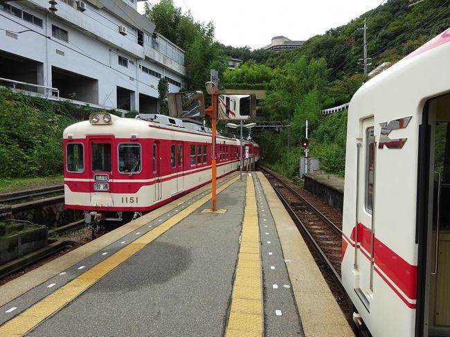 神戸にやってきて、空いた時間を使って周辺をブラブラしています。<br /><br />六甲山を越えて、有馬温泉まで来ました。<br />有馬温泉のお湯に初めて浸かったあと、ここから神戸電鉄に乗ります。<br /><br />神戸電鉄といえば、神戸の中心部から神戸北部方面への通勤路線、というイメージがあるのですが、そこは六甲山中を突っ切る路線。通勤型の電車が走るとは思えない急な勾配が連続します。<br />そんな神戸電鉄の、有馬線→粟生線と乗り継いで、西の方向に向かいました。<br />