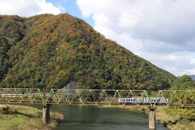 来年3月末に廃止予定のJR西日本の三江線。<br />1両のデイーセルカーが5,6人のお客さんを乗せて1日5往復するだけの日本一の閑散ローカル線です。<br />江の川沿いを走る車窓のいいローカル線でもあります。<br />紅葉の時期ですので、2泊3日で三江線めぐりをしてきました。<br />