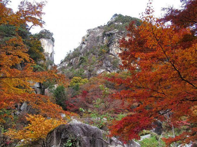 国の特別名勝にも指定されている紅葉の名所「昇仙峡」。<br /><br />以前、観光バスツアーで来た時は、仙娥滝の周辺を散策する程度でしたが、昇仙峡の魅力を堪能するには、昇仙峡入り口の長潭橋から歩くのが一番です。<br />紅葉が見頃を迎えた11月中旬、山仲間8人で羅漢寺山のトレッキングも兼ねて行きました。<br />荒川の渓流と数々の奇岩、そして渓谷を彩る紅葉・・・絵画のような圧巻の美しさでした。<br /><br />写真は、昇仙峡のシンボル・覚円峰(左)と天狗岩(右)。