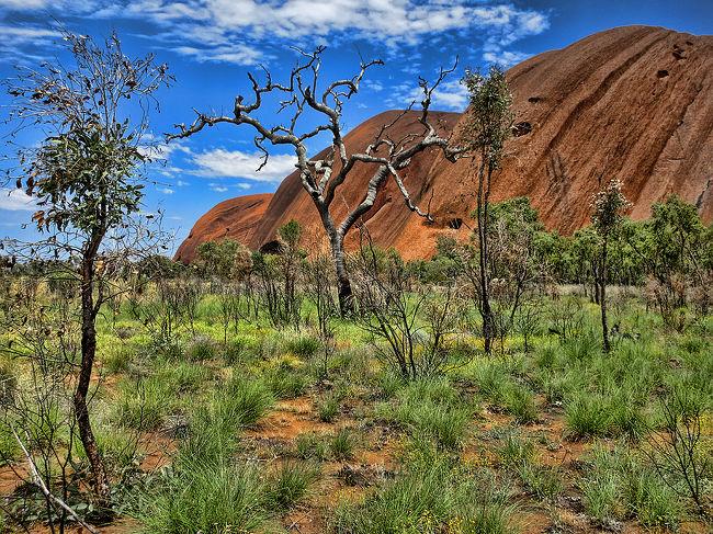 オーストラリア大陸のど真ん中、荒涼とした赤土の荒野にポツンと佇む一枚岩の巨岩、エアーズロック(ウルル)。<br /><br />シドニーから飛行機に乗って見に行ってきました。