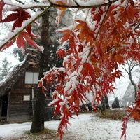 雪混じりの白川郷、飛騨高山