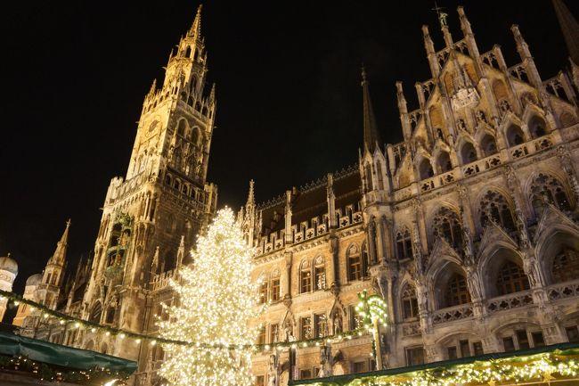 クリスマスマーケットや世界遺産、古い街並みを見てみたいと思い、2017年に4泊6日でのドイツ旅行へ♪<br />毎日疲れ切って寝る日々でしたが、また行きたい!と思う旅行になりました(#^^#)<br /><br />[日程]<br />1日目:大阪からミュンヘンへ移動。マリエン広場のクリスマスマーケットへ。(この旅行記です)<br />2日目:ミュンヘン市街を観光後、スーパーやデパ地下で買い物。(この旅行記です)<br />3日目:日帰りツアーでノイシュバンシュタイン城、ヴィ―ス教会、アウグスブルク。 https://4travel.jp/travelogue/11312416<br />4日目:電車でローテンブルグとニュルンベルクへ。 https://4travel.jp/travelogue/11317109<br />5日目:ニンフェンブルグ宮殿を見学後、ミュンヘンから大阪へ。 https://4travel.jp/travelogue/11318212<br /><br />[予約]<br />8月頭から準備を開始し、飛行機はANAで予約、ホテルはブッキングドットコムで予約。<br />席の場所も選べ、伊丹⇒羽田⇒ミュンヘン空港という国内乗換あったのが良かったです。<br /><br />[移動]<br />バス、徒歩、日帰りバスツアー、新幹線(ICE)、特急(IC)、ローカル線、トラムを利用。<br />ドイツ鉄道のホームページやアプリもガンガン使いました(^^)<br /><br />[喫煙]<br />今回の相方は吸わない人だったのですが、男女ともに喫煙者が多く、街中にゴミ箱&灰皿も沢山ありました。<br /><br />[その他]<br />スーパーにもお菓子は沢山ありましたが、会社で配る用には空港の方が小分けになっていたため空港で購入しました。