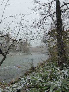 晩秋の上高地♪ Vol23(第3日) ☆さようなら上高地♪雪の梓川と大正池♪