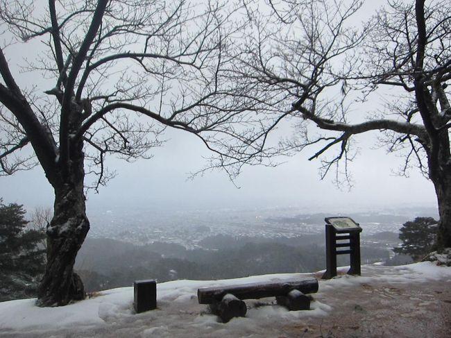 お正月休みの11日間を利用して長野・新潟の100名城のうち6城を青春18切符を使用してめぐってきました。お正月でお城のスタンプが押せない日があったりで日程を変更したりしましたが、ついでに気になっていた温泉やグルメを堪能して来ました。<br /><br />★22の旅行記散歩ルート<br />春日山駅→埋蔵文化財センター→春日山神社→春日山城→林泉寺→春日山駅<br /><br />1.東京から白骨温泉へ移動~かつらの湯 丸永旅館宿泊<br />2.白骨温泉 日帰り泡の湯本館&周辺散策<br />3.松代ゲストハウス布袋屋宿泊&松代散策<br />4.松代城~旧松代駅~象山神社<br />5.上田電鉄別所線 フォトジェニックな八木沢駅<br />6.別所温泉さんぽ<br />7.元旦の善光寺に初詣に行く<br />8.渋温泉へ移動&渋温泉九湯めぐり<br />9.渋温泉 九湯めぐり(まとめ)<br />10.渋温泉さんぽ(九湯めぐり~渋高薬師~温泉寺~小古井菓子店~茶房ふるさと)<br />11.「スノーモンキーホリデー観にバス」で地獄谷野猿公苑へ<br />12.地獄谷野猿公苑の入口にある猿座カフェ&幸鮨<br />13.渋温泉 小石川旅館でモーニング&スノーモンキー号で長野へ<br />14.飯山線で長野から新潟へ&魚沼釜蔵で夕食<br />15.新発田城&新発田さんぽ<br />16.新潟グルメ&白山神社&Befcoばかうけ展望台<br />17.本棚の奥がベットのBOOK INNに宿泊<br />18.白鳥飛来地の瓢湖へ電車と徒歩で行ってみる<br />19.しょこら亭 瓢湖店~かつ丼政家<br />20.月岡温泉さんぽ<br />21.小嶋屋のへぎそば~現美新幹線乗車<br />22.突然雨と雪が降ってきた春日山城←★今ここ<br />23.春日山から上田に移動~犀の角宿泊<br />24.真田昌幸が築城した上田城<br />25.上田柳町 ルヴァンでランチ<br />26.小諸城址(懐古園)さんぽ<br />27.松本に移動~松本からあげセンター~縄手通り<br />28.国宝 5重6階天守の松本城<br />29.松本 時代遅れの洋食屋おきな堂~珈琲まるも~東京に移動