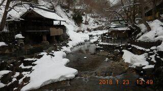 雪の北群馬、秘湯を巡る 1. 宝川温泉汪泉閣、湯宿温泉金田屋