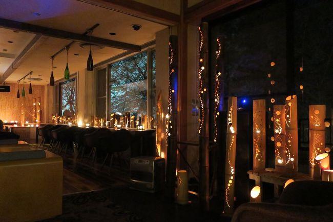 """福島県磐梯熱海温泉の金蘭荘花山。<br /><br />こちらの魅力は一部屋ごとにテーマの異なるコンセプトルーム「和【nagomi】」。<br />全13室ある中で、コーナールーム""""季(とき)""""に宿泊しました。<br />とっても凝った造りのお部屋と窓からの雪景色が印象的でした。<br /><br />そして、竹灯りコンサート。普段はCDを流すとのことですが、この日はピアノの生演奏(1時間)。<br />竹灯りの幻想的な雰囲気と素敵なピアノ演奏の組み合わせにうっとりでした。"""